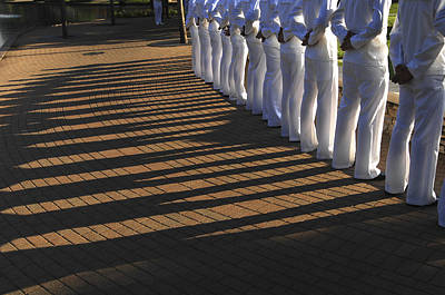 Sailors Stand At Parade Rest Print by Stocktrek Images