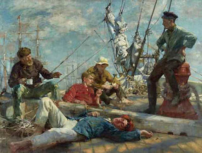 Painting - Sailors Yarning by Henry Scott Tuke