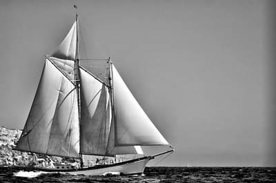 Photograph - Sailrace In Open Sea - Vintage Vessel Of Two Mast - Pedro Cardona by Pedro Cardona Llambias