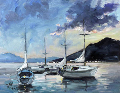 Sunset Painting - Sails 4 - Lake Como by Irek Szelag