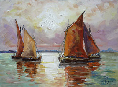 Sunset Painting - Sails 6 by Irek Szelag