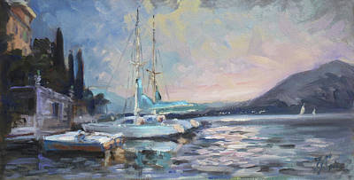 Sunset Painting - Sails 8 - Lake Como Varenna by Irek Szelag