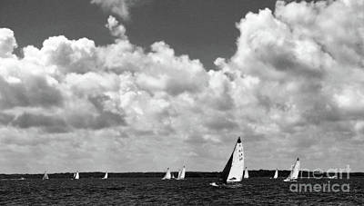 Photograph - Sails And Clouds In Bw by Mary Haber