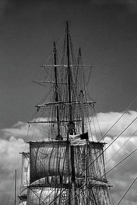 Historic Schooner Photograph - Sails And Mast Riggings On A Tall Ship In Black And White by Randall Nyhof