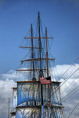 Photograph - Sails And Mast Riggings On A Tall Ship With American Flag by Randall Nyhof