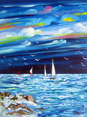 Painting - Sails And Seagulls by Roberto Gagliardi