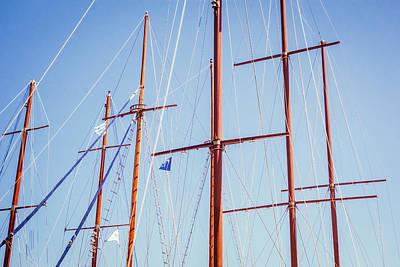Sails In Santorini Art Print by Matti Ollikainen