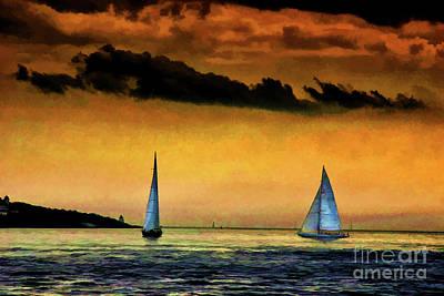 Photograph - Sails In Sunset by Rick Bragan
