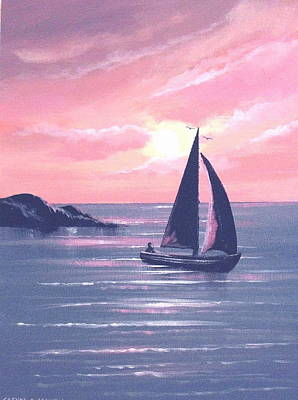 Sails In The Sunset Art Print by Cathal O malley