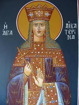 Byzantine Icon Painting - Saint Aekaterina by George Siaba