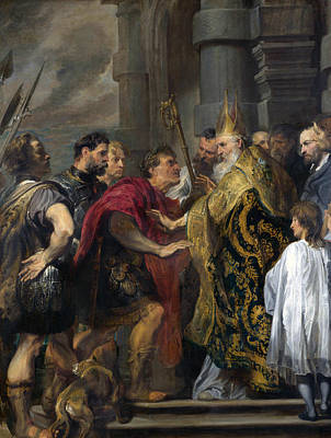 Saint Ambrose Barring Theodosius I From Milan Cathedral Art Print by Anthony van Dyck