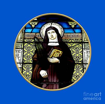 Window Photograph - Saint Amelia Stained Glass Window In The Round by Rose Santuci-Sofranko