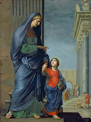 Saint Anne Leading The Virgin To The Temple Art Print by Jacques Stella