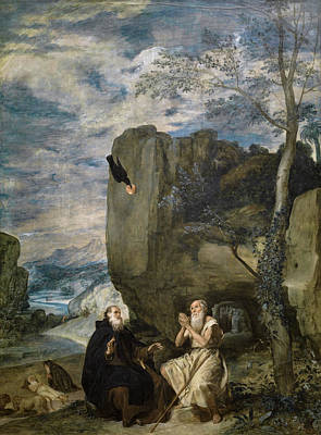 Spain Painting - Saint Anthony Abbot And Saint Paul The Hermit by Diego Velazquez