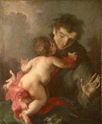Catholic For Sale Painting - Saint Anthony Of Padua With The Infant Christ by Giuseppe Bazzani