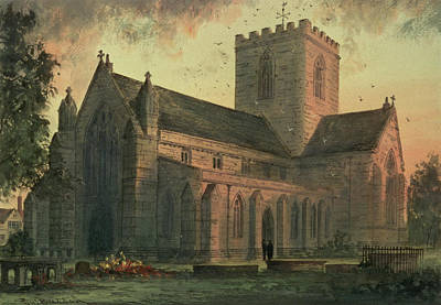 Village Scene Painting - Saint Asaphs Cathedral by Paul Braddon