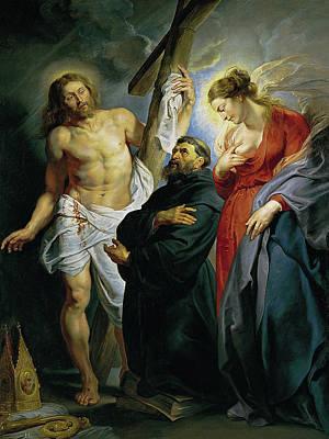 Via Dolorosa Painting - Saint Augustine Between Christ And The Virgin by Peter Paul Rubens