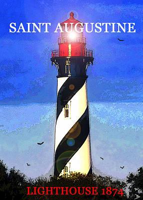 1874 Digital Art - Saint Augustine Lighthouse 1874 by David Lee Thompson
