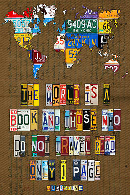 Travel Mixed Media - Saint Augustine Travel Quote Recycled Vintage License Plate Letter Word Art by Design Turnpike