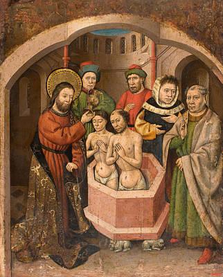 Baptising Painting - Saint Bartholomew Baptising by Master of Saint Bartholomew