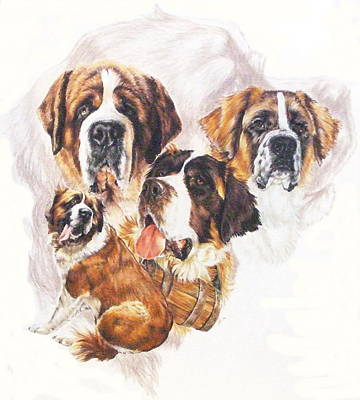 Saint Bernard With Ghost Image Original by Barbara Keith