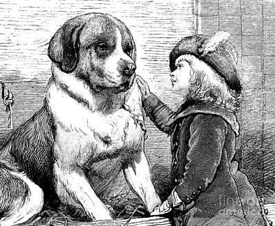 Girl And Dog Drawing - Saint Bernard And Little Girl by Charles Burton Barber