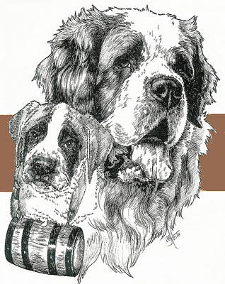 Mixed Media - Saint Bernard And Pup by Barbara Keith