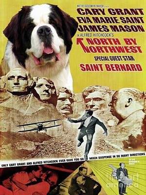 Painting - Saint Bernard Art Canvas Print - North By Northwest Movie Poster by Sandra Sij