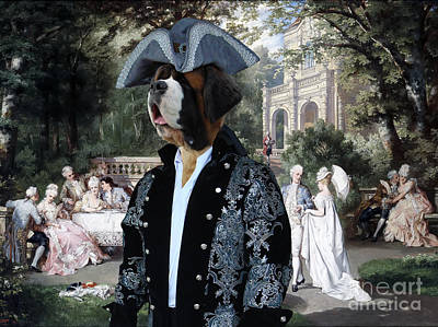 Painting - Saint Bernard Art Canvas Print - The Garden Party by Sandra Sij