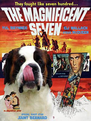 Painting - Saint Bernard Art Canvas Print - The Magnificent Seven Movie Poster by Sandra Sij