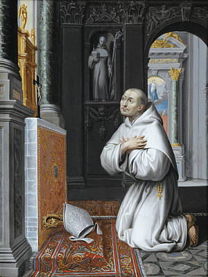 Lubin Baugin Painting - Saint Bernard Praying by Attributed to Lubin Baugin