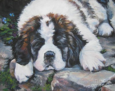 Painting - Saint Bernard Pup by Lee Ann Shepard