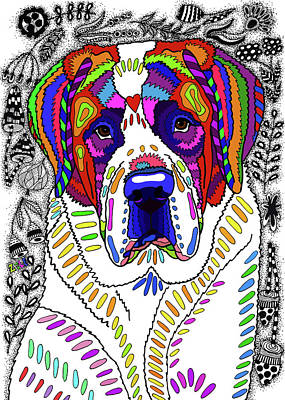 Drawing - Saint Bernard by ZileArt