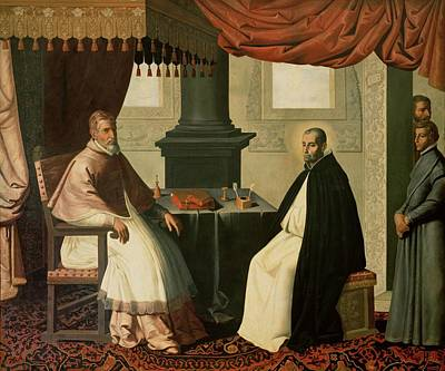 Clergy Painting - Saint Bruno And Pope Urban II by Francisco de Zurbaran
