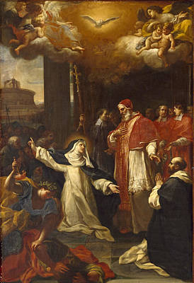 Saint Catherine Trying To Persuade The Pope To Move From Avignon To Rome Print by Marco Benefial