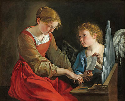 Painting - Saint Cecilia And An Angel by Orazio Gentileschi and Giovanni Lanfranco