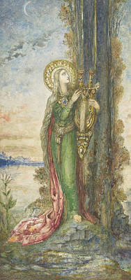 Drawing - Saint Cecilia by Gustave Moreau