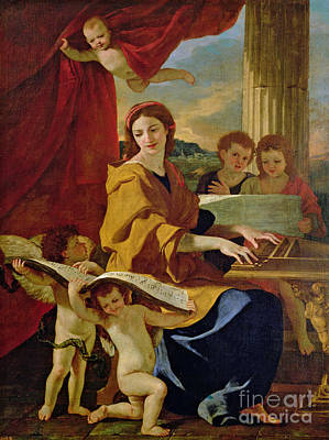 Curtains Painting - Saint Cecilia by Nicolas Poussin