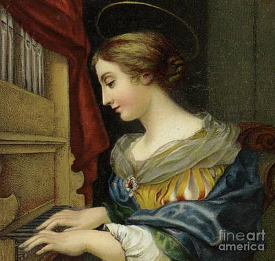 Saint Cecilia Painting - Saint Cecilia Playing The Organ by Carlo Dolci