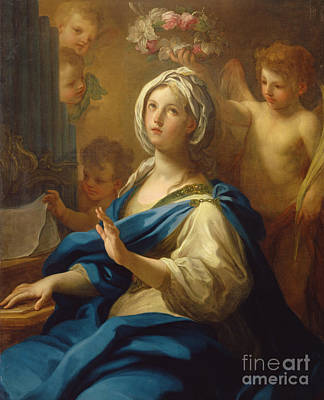 Sheet Music Painting - Saint Cecilia by Sebastiano Conca