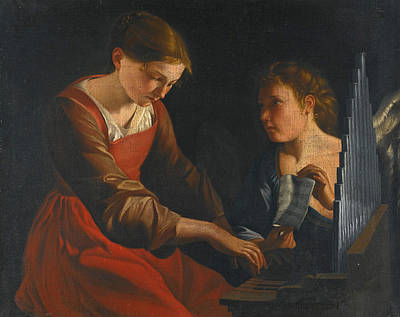 Cecilia Painting - Saint Cecilia With An Angel by After Orazio Gentileschi