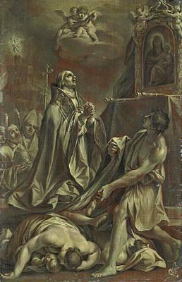 Borromeo Painting - Saint Charles Borromeo Assists The Sick by Giuseppe  Pedretti