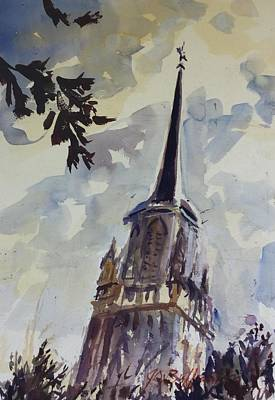 Painting - Saint Charles Steeple  by JULES Buffington