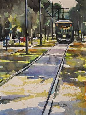 Train Tracks Painting - Saint Charles Street Trolley by Spencer Meagher