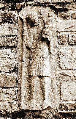 Rustic Photograph - Saint Christopher Carrying Baby Jesus Christ Stone Carving Jerpoint Abbey Ireland Sepia by Shawn O'Brien