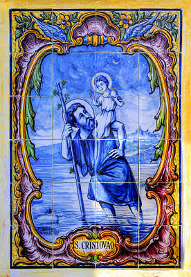 Saint Christopher Carrying The Christ Child Across The River - Near Entrance To The Carmel Mission Art Print by Michael Mazaika