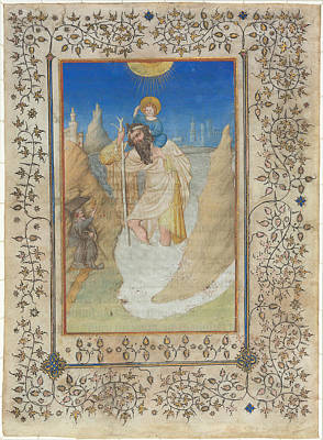 Saint Christopher Drawing - Saint Christopher Carrying The Christ Child by Limbourg Brothers
