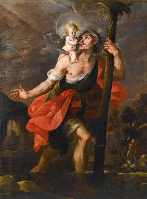 Saint Christopher Painting - Saint Christopher Carrying The Christ Child by Mateo Cerezo