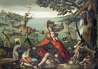 Saint Christopher Painting - Saint Christopher Carrying The Christ Child Through A Sinful World by Follower of Pieter Huys