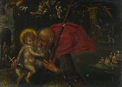 Saint Christopher Carrying The Infant Christ Art Print by German